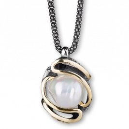 Baroque Pearl Handmade Gold and Silver Pendant