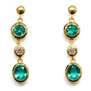 Emerald And Diamonds Handmade Gold Earrings