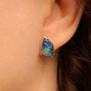 Contemporary Handmade Solid Australian Opal Earrings In Gold