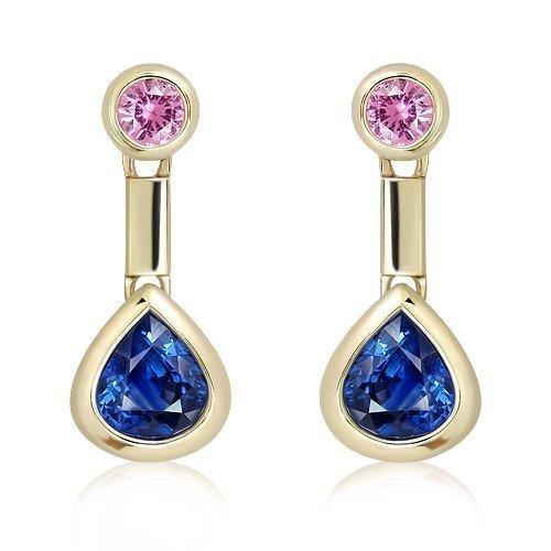 Ceylon Sapphire and Pink Sapphire Handmade Earrings