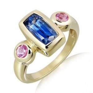Ceylon Sapphire And Pink Sapphires Gold Ring