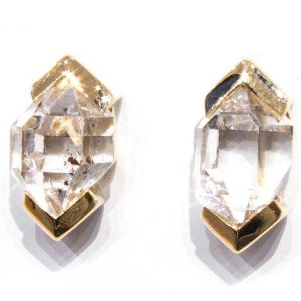 Herkimer Diamonds Studs in 14 Ct Gold