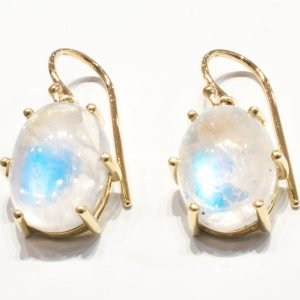 Rainbow Moonstone Handmade Gold Earrings
