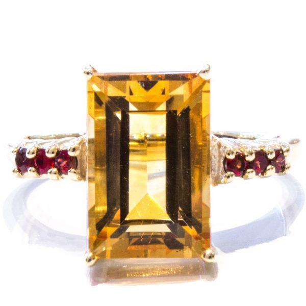 Citrine and Garnet Handmade Gold Ring