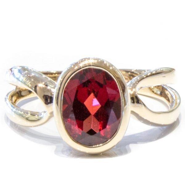 Garnet in Handmade Gold Ring