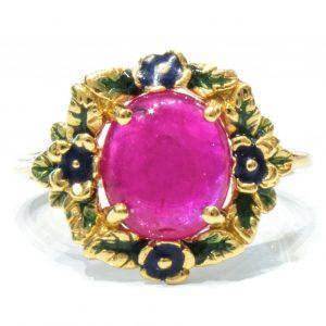 Enamel Italian Ring with Ruby