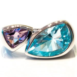 Special Faceted Blue Topaz and Amethyst Silver Ring