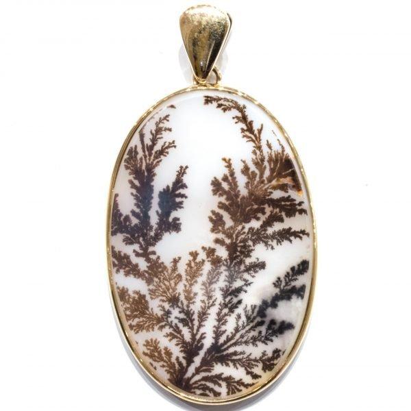 Dendritic Agate Handmade Gold Pendant