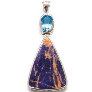 Blue Topaz and Sodalite Handmade Pendant