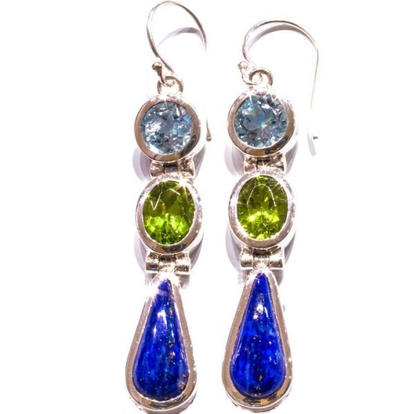 Handmade Blue Topaz Peridot and Lapis Silver Earrings