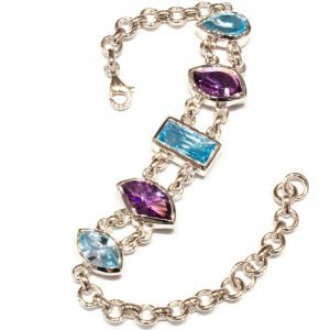 Handmade Blue Topaz and Amethyst Sterling Silver Bracelet