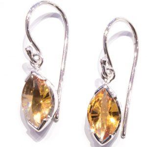 Laser Cut Citrine Silver Earrings