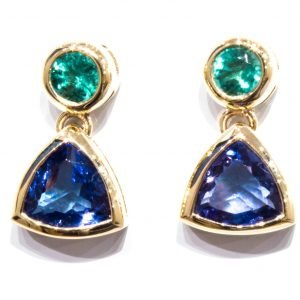 Emerald and Tanzanite Handmade Gold Earrings
