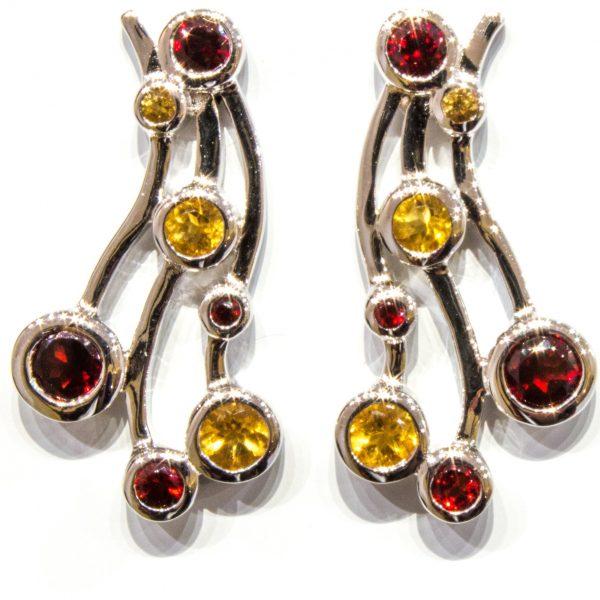 Handmade Silver Earrings with Garnet and Citrine