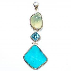 Handmade Turquoise, Blue Topaz and Prehnite Silver Pendant