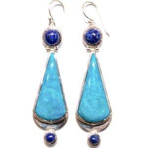 Handmade Turquoise and Lapis Lazuli Earrings