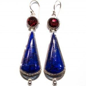 Handmade Lapis and Garnet Earrings