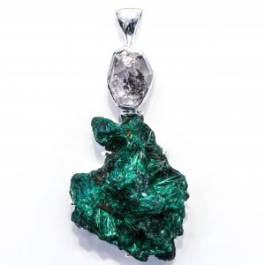 Malachite and Herkimer Diamond Pendant