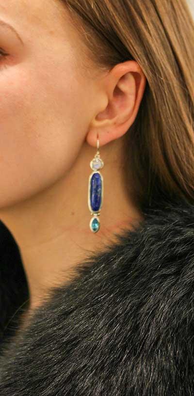 Trio Stone Drop Earrings