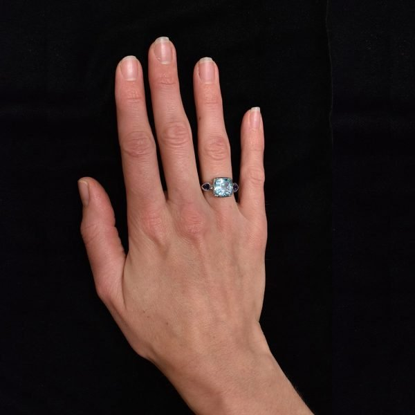 Blue Topaz and Iolite Handmade Ring