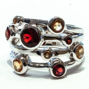 Garnet and Citrine Unique Handmade Ring