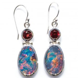 Handmade Opal and Garnet Earrings