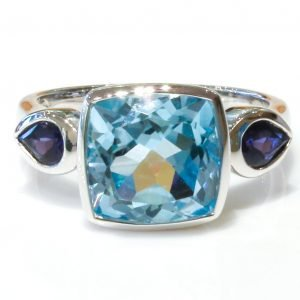 Blue Topaz and Iolites Handmade Ring