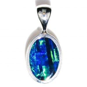 Bright Blue and Green Australian Opal Pendant