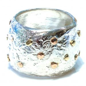 Bold Silver Ring with Gold Details