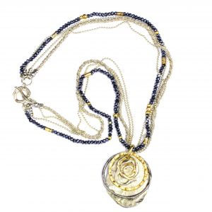 Contemporary Israeli Necklace in Silver and Gold
