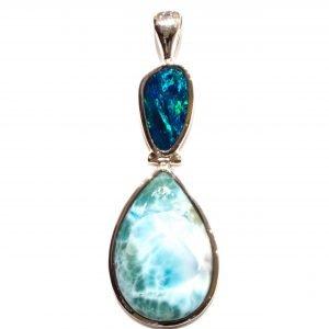 Australian Opal and Larimar Pendant