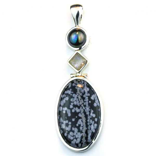 Snowflake Obsidian Multi Stone Pendant