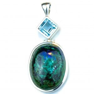 Blue Topaz and Chrysocholla Silver Pendant