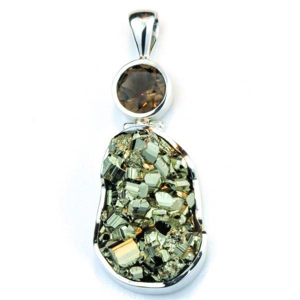 Smoky Quartz and Pyrite Pendant