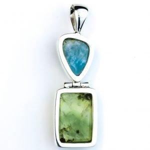 Larimar and Prehnite Silver Pendant
