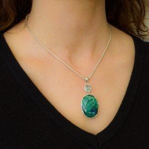 Aquamarine and Chrysocolla Silver Pendant
