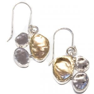Yellow Gold and Silver Handmade Earrings