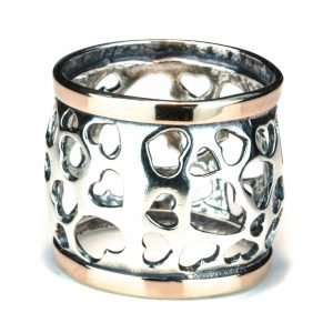 Israeli Gold and Silver Hearts Ring