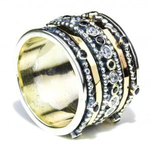Yellow And Rose Gold Israeli Spinning Ring