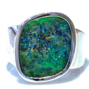 Large Black Opal Silver Ring