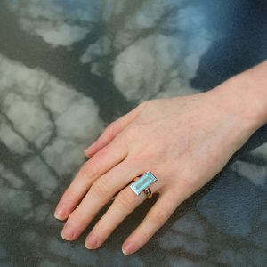 Contemporary Aquamarine handmade Ring in Rose and White Gold