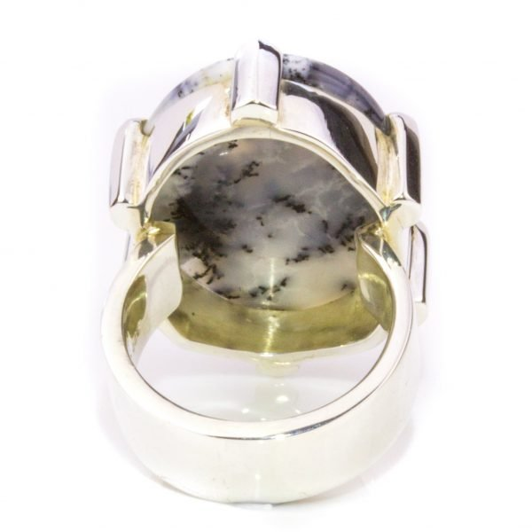 Dendritic Agate Minimalist Ring