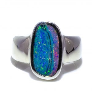 Black Opal Wide Band Silver Ring