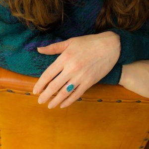 Oval Black Opal Ring