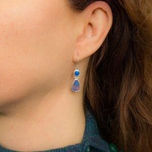 Double Australian Opal Handmade Earrings