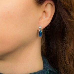 Moonstone and Australian Opal Studs