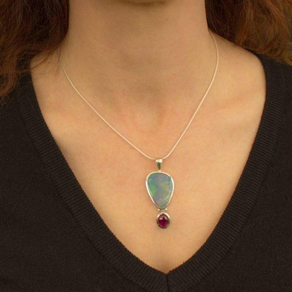 Australian Opal and Tourmaline Pendant