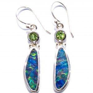 Opal and Peridot Handmade Earrings in Silver