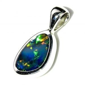 Fiery Black Opal Pendant