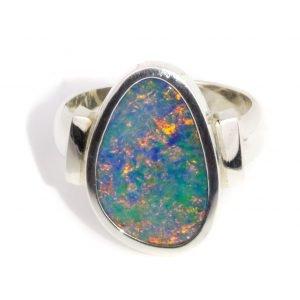 Black Opal Silver Ring, Handmade Ring
